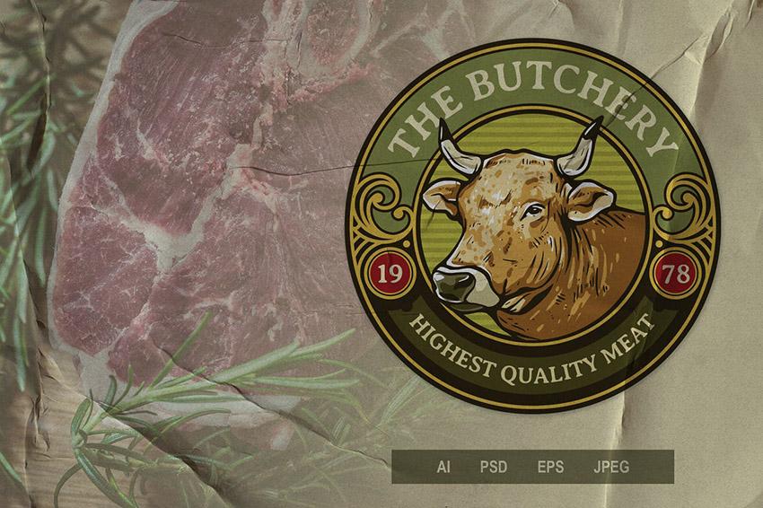 Butchery Create Emblem Logo Template
