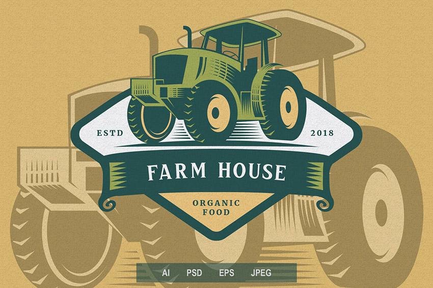 Farming Emblem Shield Logo Template