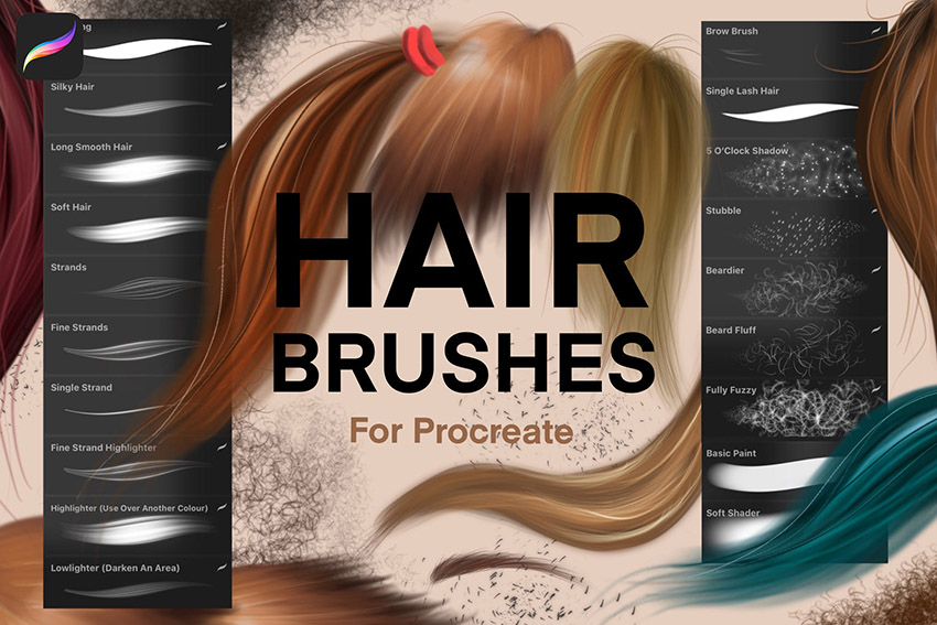Procreate Hair Texture Brushes Set