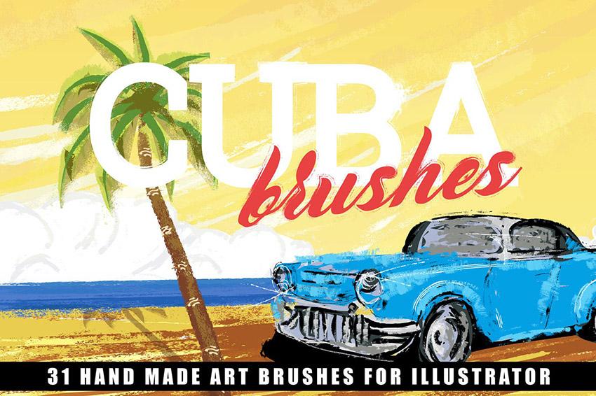 Cuba Illustrator and Affinity Designer Brushes