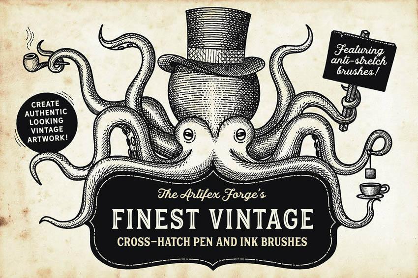 Finest Vintage Illustrator and Affinity Designer Brushes