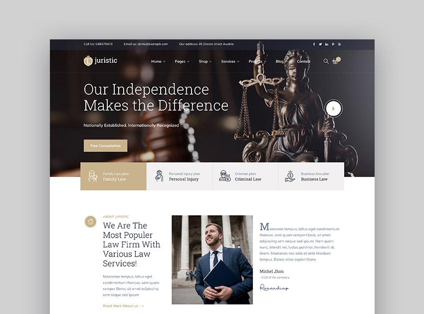 Juristic HTML Advocate Website Template