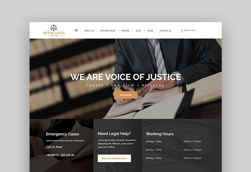 Miako Responsive HTML Law Firm Website Template