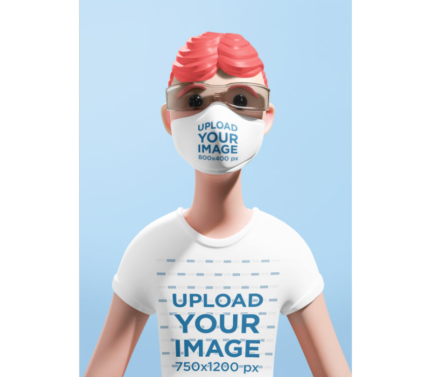 Illustrated Cartoon Face Mask and T-Shirt Mockup Generator