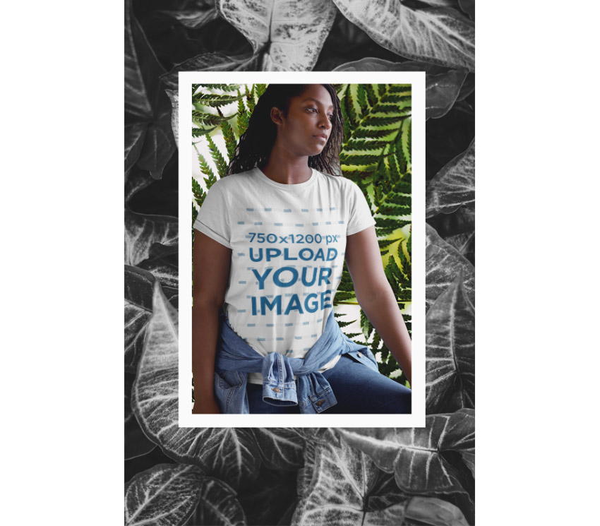 T-Shirt Mockup Framed In Plants Graphic