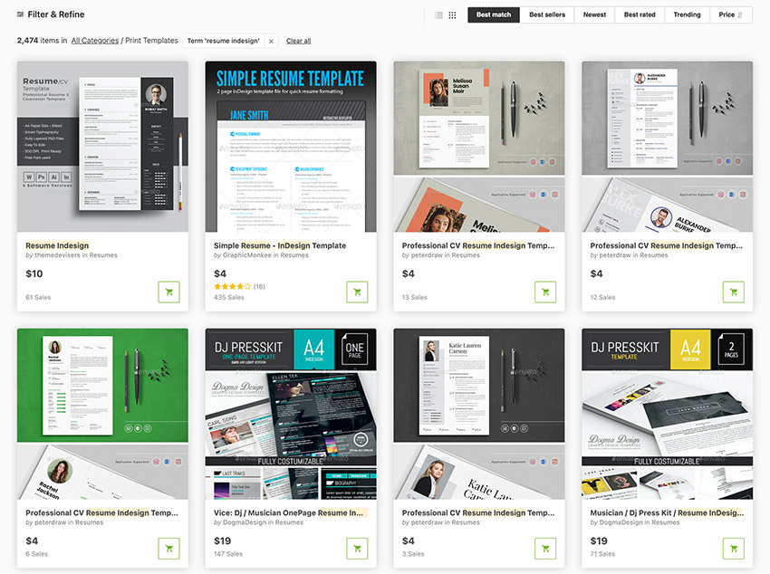 GraphicRiver InDesign Resume Templates