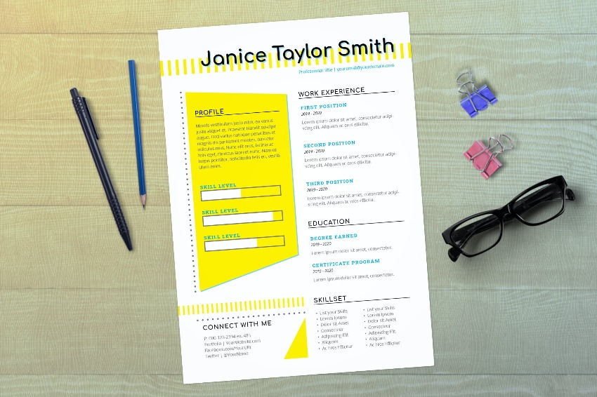 Example of Adobe InDesign Resume Templates With White Space