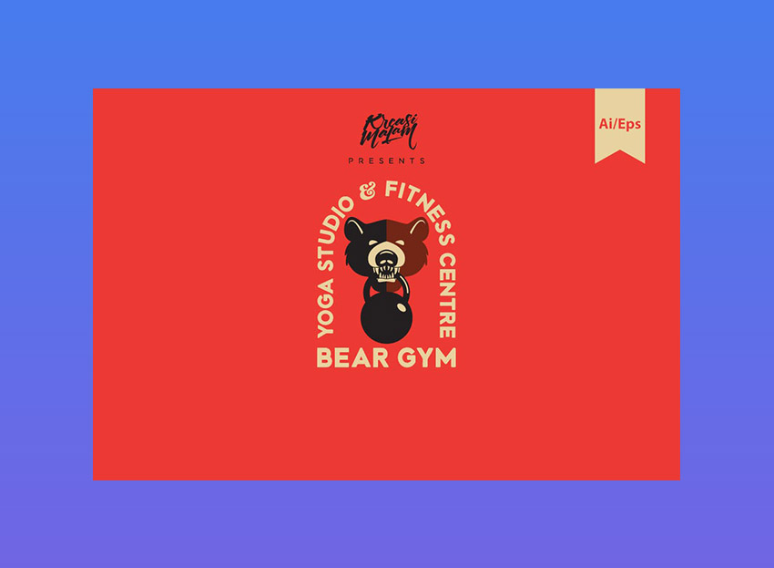 Bear Gym Logo Template