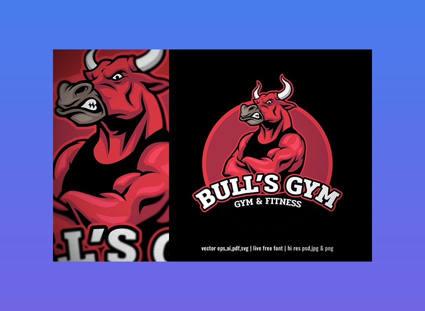 Bull Bodybuilder Gym Fitness Logo