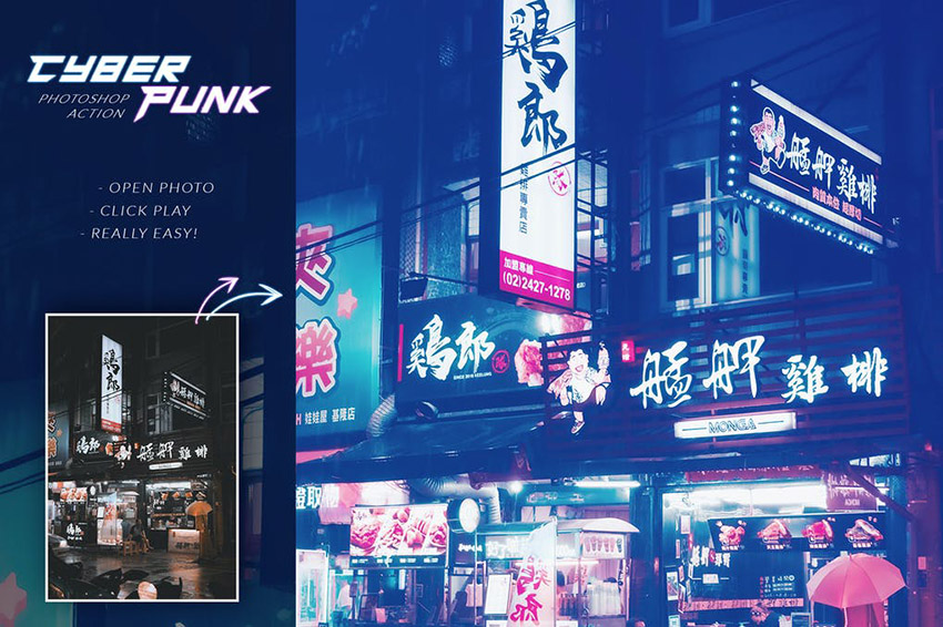 Cyberpunk Photoshop Action Download