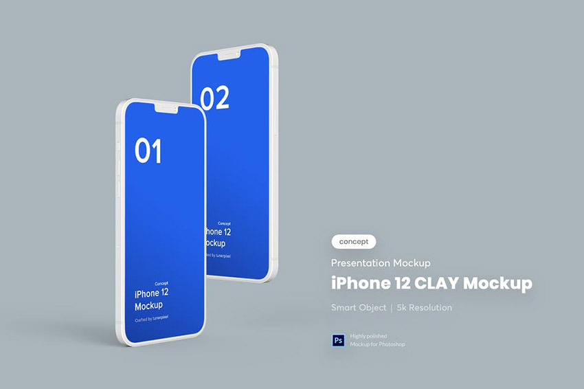 Clay Floating iPhone 12 PSD Mockup Template