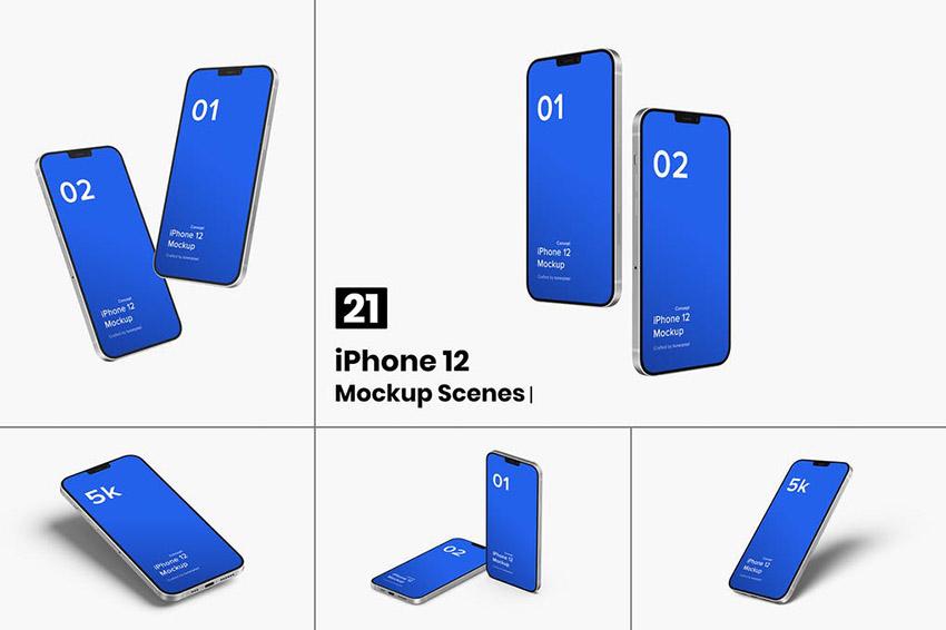 Image of iphone 12 mockup concept 21 mockups scenes FLCPFX4