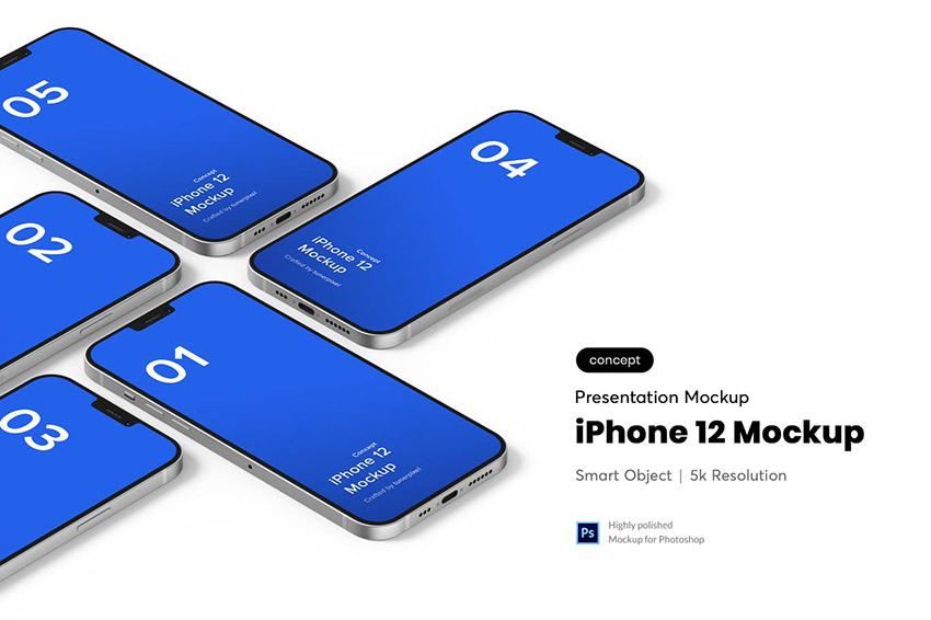 Isometric iPhone 12 Mockup PSD Template