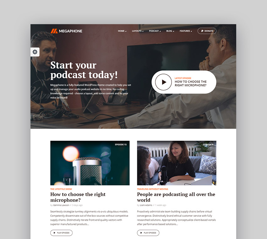 Megaphone - Audio Podcast WordPress Radio Station Theme