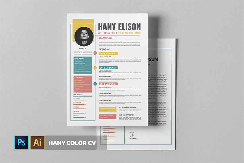 Hany Color CV Template