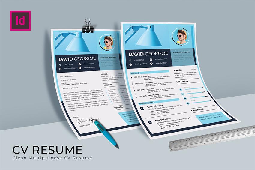 Blue CV Resume Template