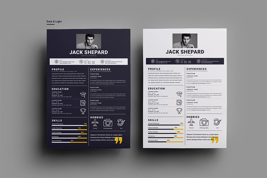 Dark and Light Resume Template