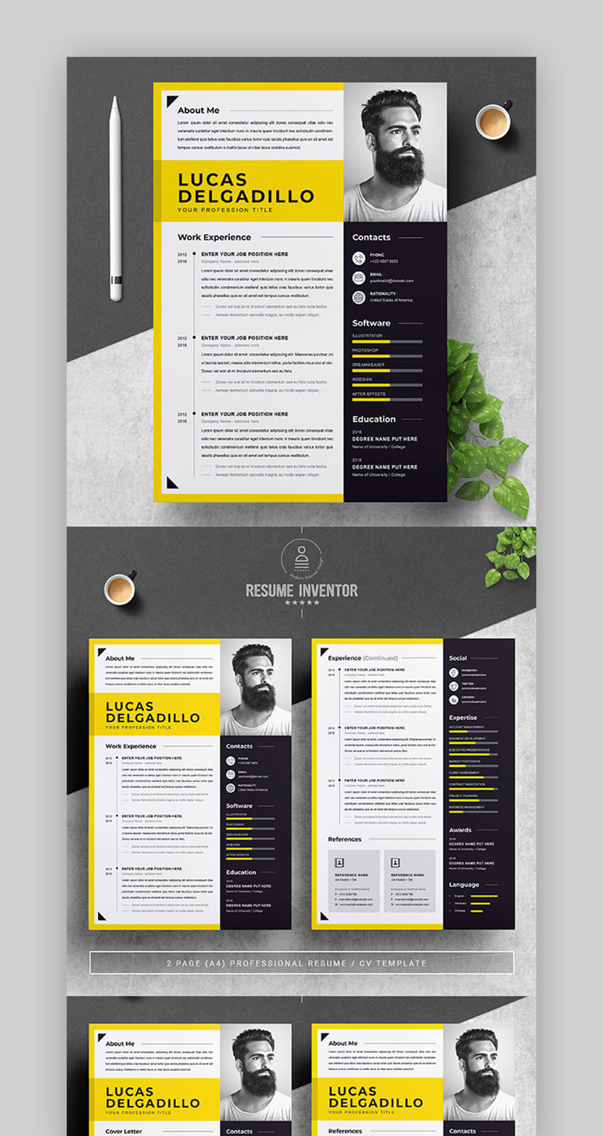Yellow and Black Resume Template