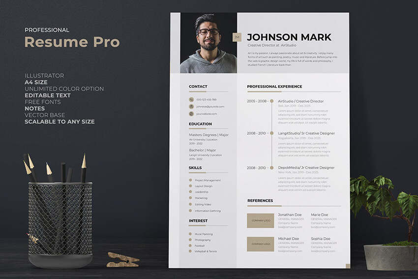 One Page Brief Resume Template