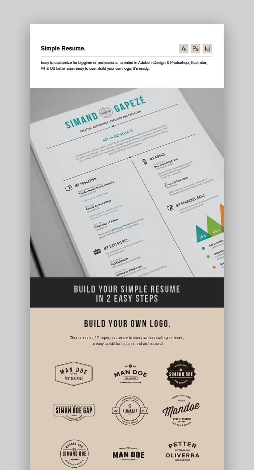30 Simple Resume Cv Templates Easily Customizable Editable For