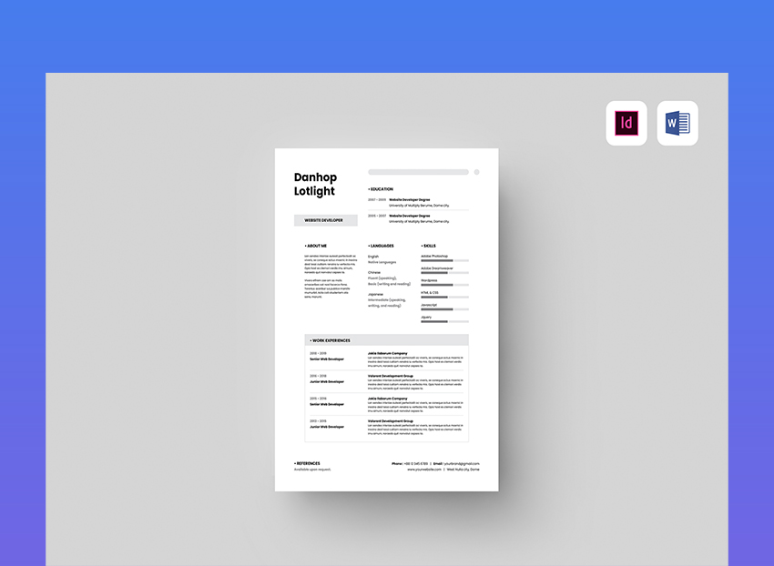 Template CV Simple Gray