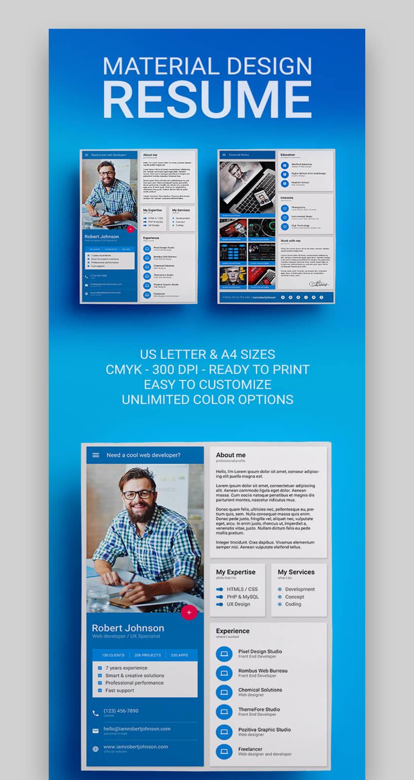 Material Design Amazing Resume Template
