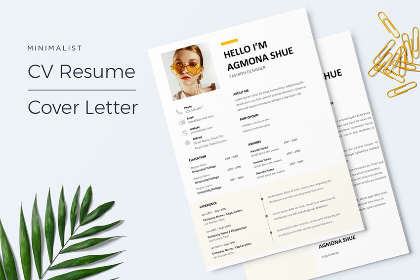 22 Free Minimalist Resume Templates Word Indesign More Cv