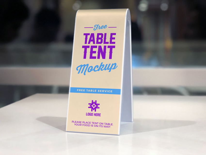 Table Tent Restaurant Menu Mockup PSD Free