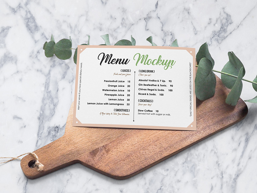 Menu Mock Up Landscape Card