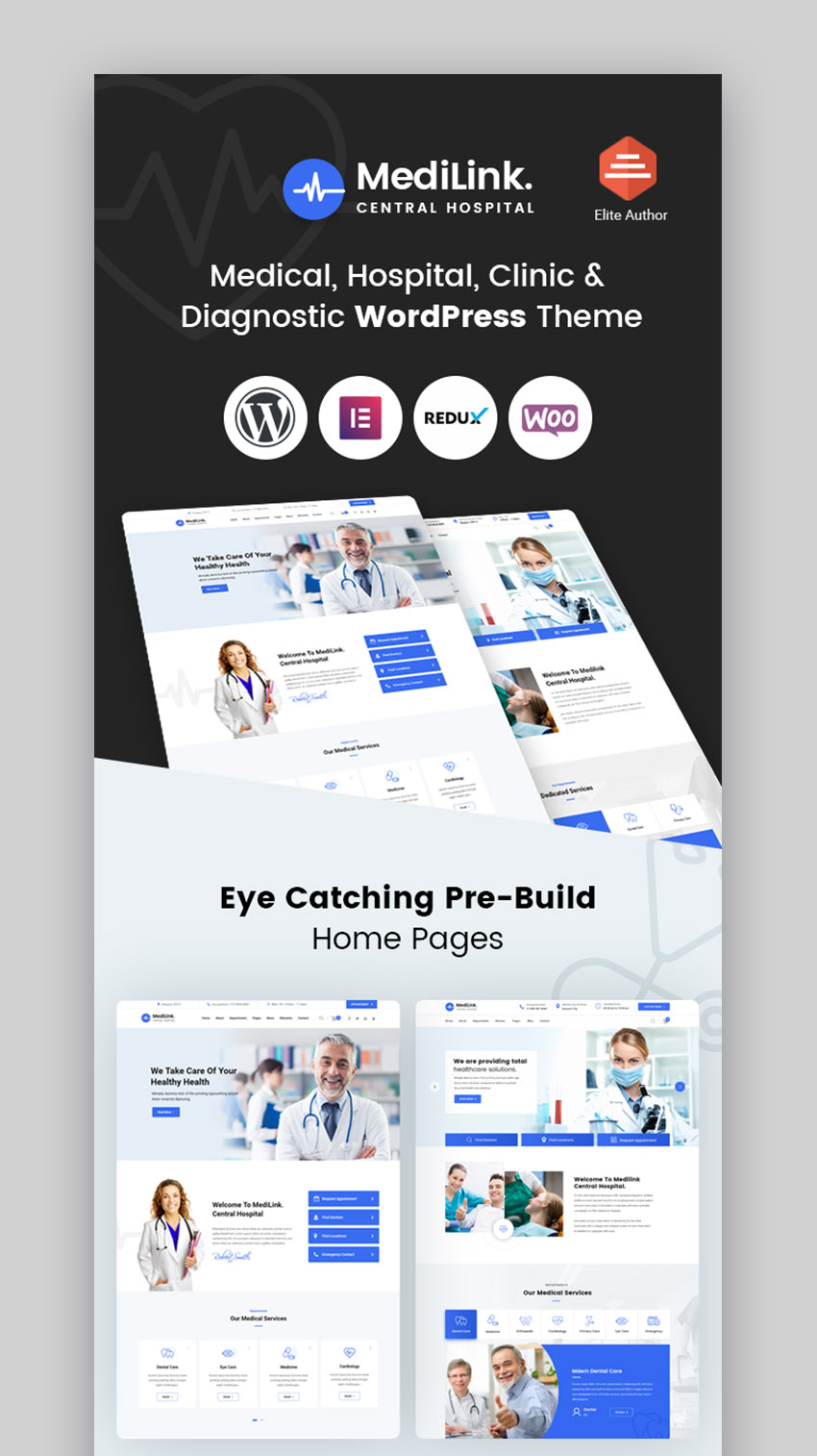 Medilink Doctor Appointment WordPress Theme