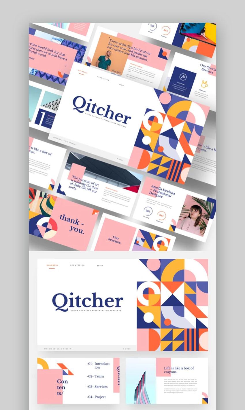 Qitcher Colorful Presentation Templates