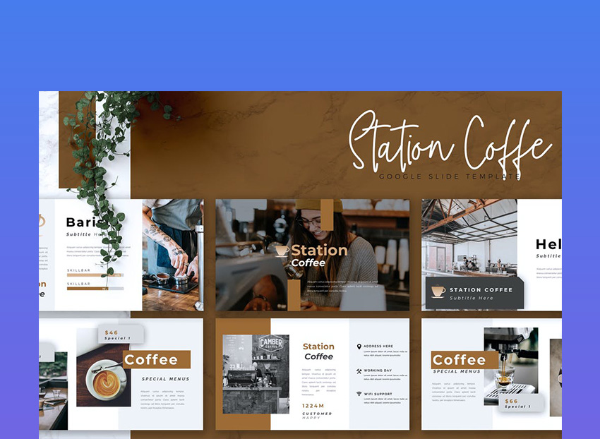 Station Coffee Google Slides Theme