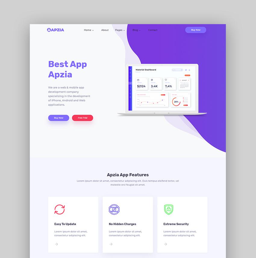 Apzia product landing page