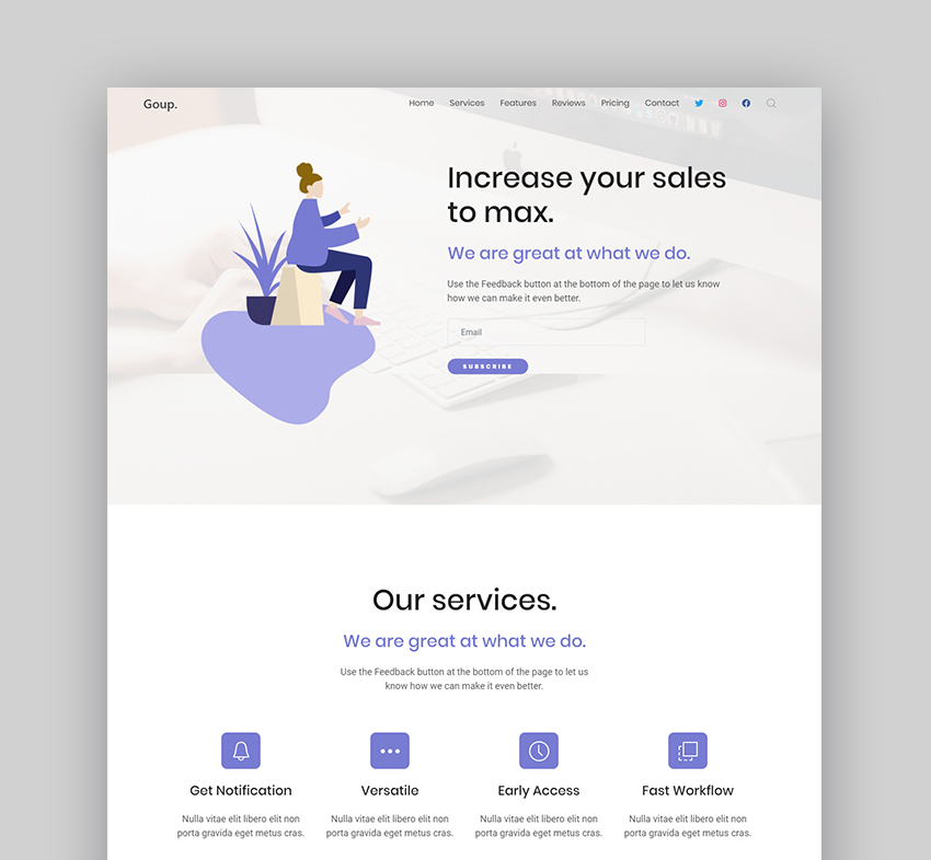 Goup professional landing page