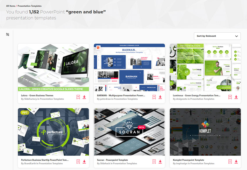 Premium blue and green sustainability PPT templates on Envato Elements