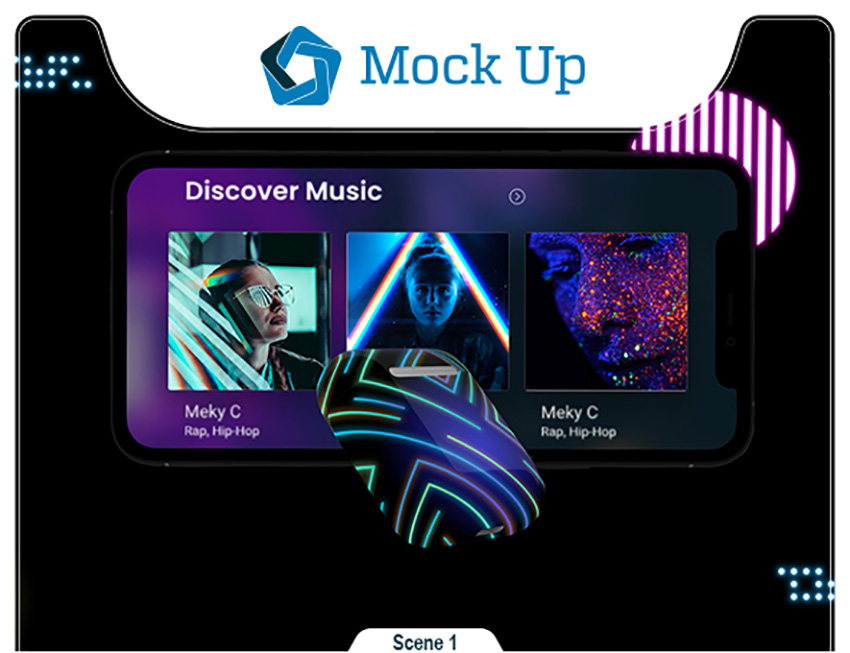 Image of graphicriver o61YGq5s neon phone 11 pods mockup inline image preview source