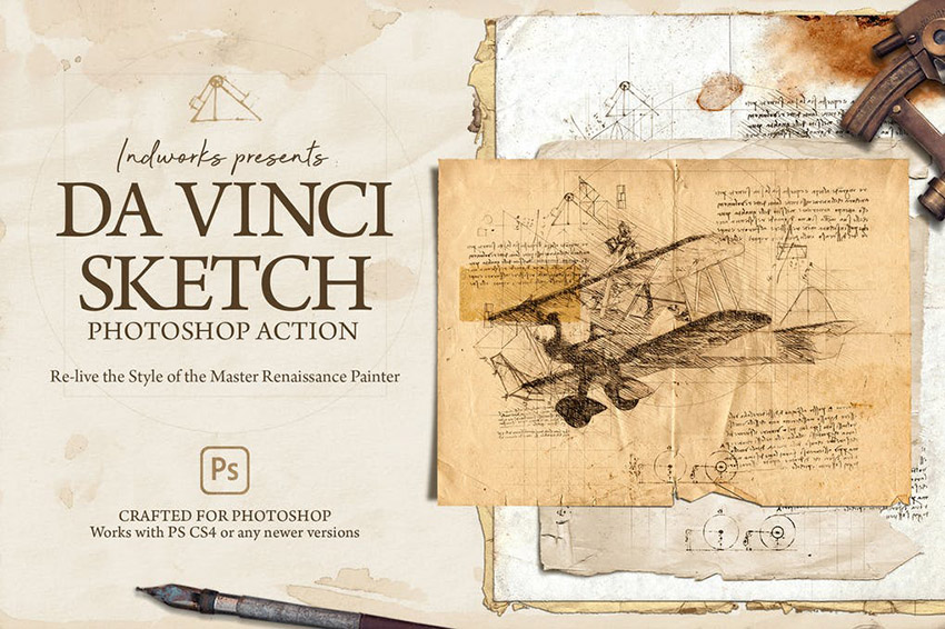Da Vinci Sketch Photoshop Action