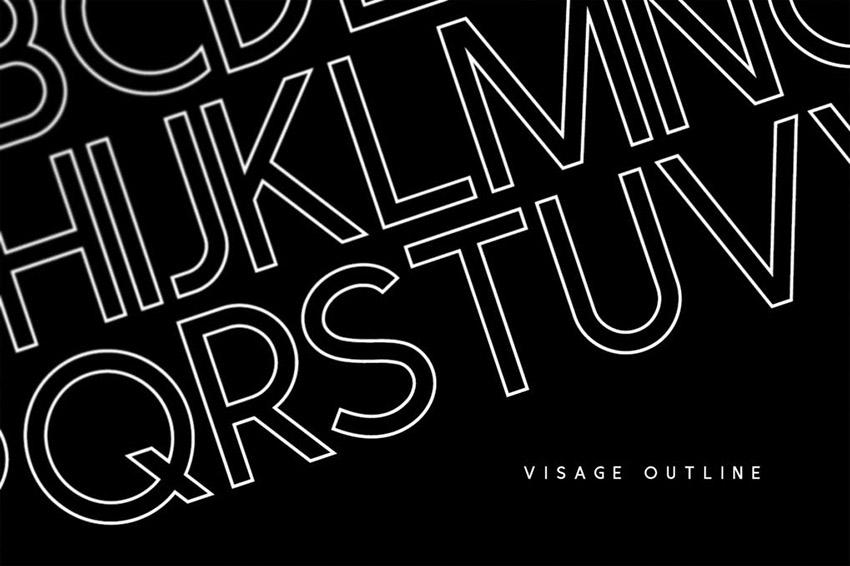 Visage Outline Display Typeface