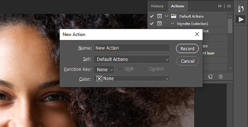 naming and recording photoshop actions