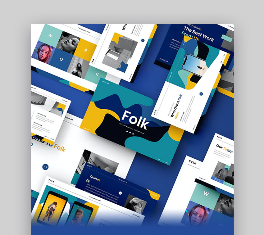 Folk – plantilla PowerPoint creativa para negocio