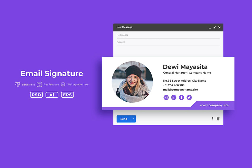 Email Signature Mockup With Social Media