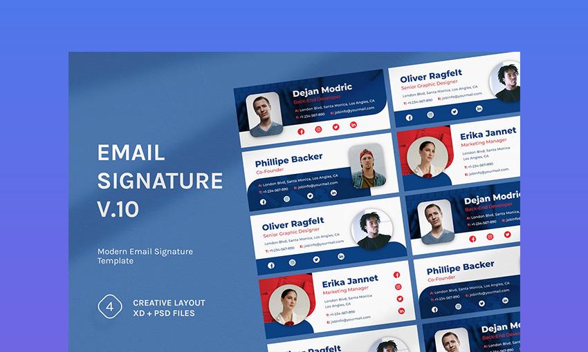 Professional Email Signature Templates v10