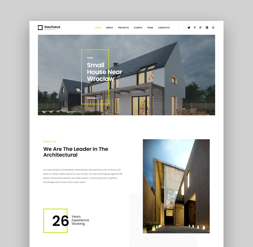 Bauhaus simple real estate landing page design