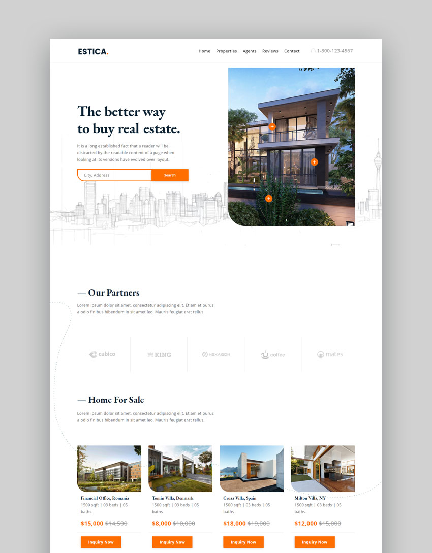 Estica real estate landing page