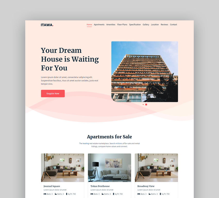Itawa real estate landing page design