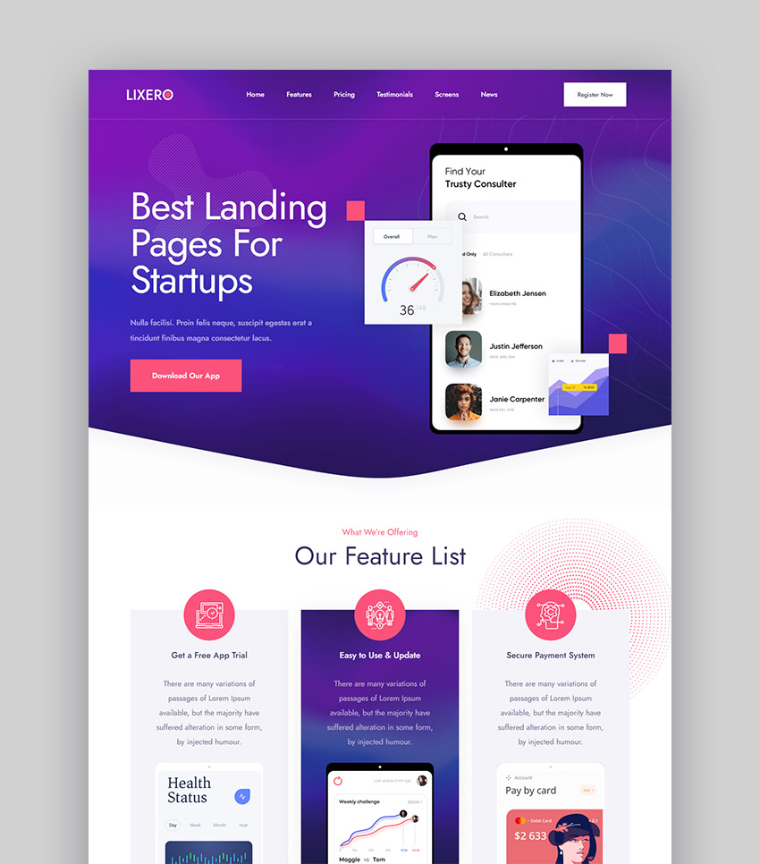 Lixero Landing Page HTML5