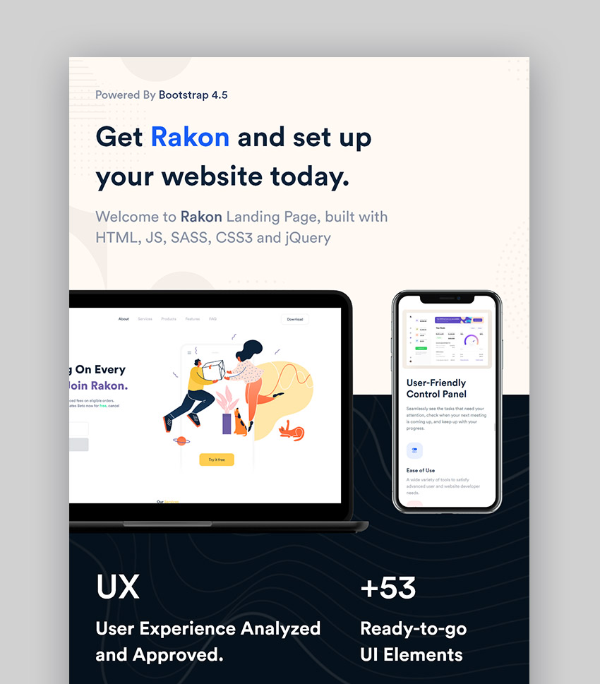 Rakon HTML5 Landing Page Template