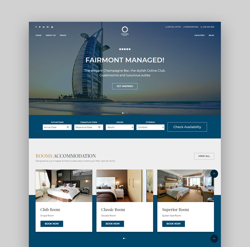 Colina Hotel WordPress Theme