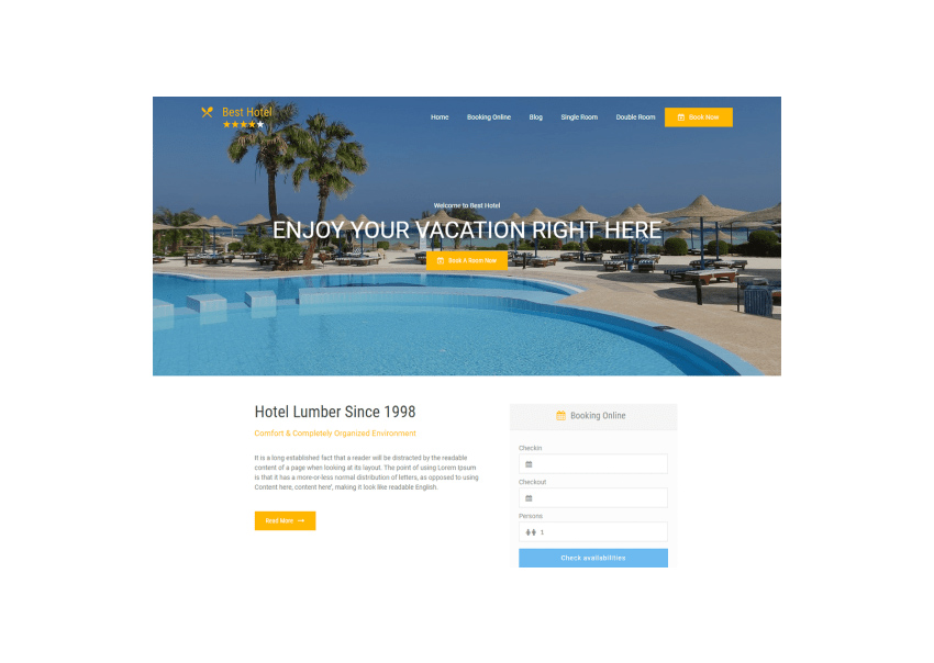 Best Hotel Hotel WordPress Themes Free