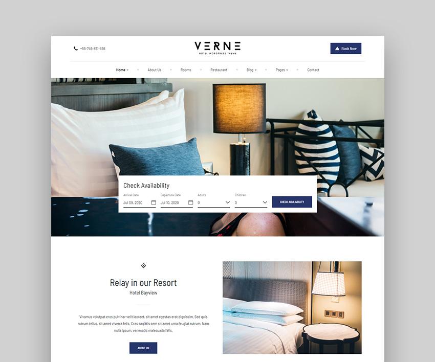 Verne Hotel Reservation WordPress Theme